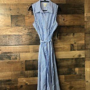 Enfocus Blue & White Stripe Midi Dress NWT